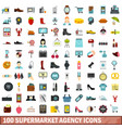 100 supermarket agency icons set flat style vector image vector image