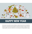 2019 new year celebration bunny with snowman vector image vector image