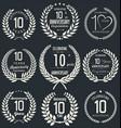 anniversary laurel wreath retro collection 10 vector image vector image