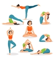 Asana yoga collection of girls doing sport in vector image vector image
