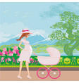 beautiful pregnant woman pushing a stroller with vector image vector image