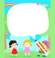 blank template cute multiracial kids poster design vector image