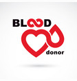 blood donor inscription isolated on white and vector image