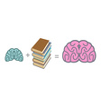 Brain and books Use reading to mind A stack of vector image vector image