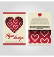 Brochure flier design template with heart pattern vector image