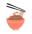 buckwheat noodles in bowl and chopsticks are vector image vector image