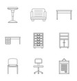 cabinet furniture icons set outline style vector image vector image