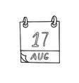 calendar hand drawn in doodle style august 17 day
