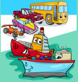 cars and ships group cartoon vector image
