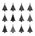 christmas tree set concept tree icon collection vector image vector image