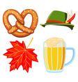 colorful cartoon oktoberfest 4 elements set vector image vector image