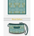 Cosmetic Bag Blue Floral Ornament vector image