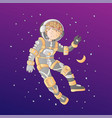 cute cartoon asrtonaut girl floating in space vector image vector image
