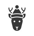 deer wearing santa hat silhouette icon design vector image vector image