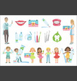 dentists and dental care poster vector image vector image