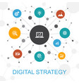 digital strategy trendy web concept with icons vector image vector image
