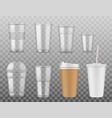 disposable paper or plastic cups isolated icons vector image