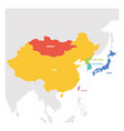 east asia region colorful map of countries