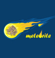 falling meteorite with inscription vector image vector image