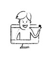 figure technology computer with man inside vector image vector image