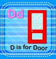Flashcard letter d is for door vector image
