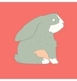 Flat hand drawn icon of a cute rabbit vector image