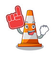 foam finger on traffic cone against mascot argaet vector image vector image