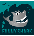 Funny shark with diver vector image