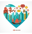 hong kong love background vector image