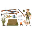 hunting elements set vector image