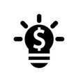 lightbulb on with dollar sign symbol of vector image