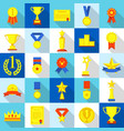 medal trophy award prize icons set flat style vector image