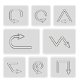 monochrome icons with arrow symbols vector image