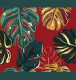 monstera leaves greenery gold luxury seamless vector image vector image