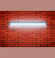 neon lamp on red brick wall vector image vector image