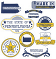 Pennsylvania Set of generic stamps and signs vector image