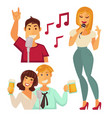 people entertaining in karaoke bar isolated on vector image