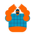 redneck isolated angry bearded man in shirt vector image
