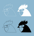 rooster head the black and white color icon vector image vector image