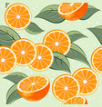 seamless pattern orange juicy fruits leaves vector image vector image