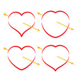 set of four red hearts with arrow vector image