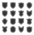 shield icons set on white background vector image vector image