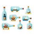 ships in bottles set models sailing ships vector image vector image