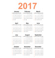simple calendar 2017 year vector image