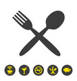 spoon and fork icon on white background vector image