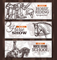 sport banners with horse riding and equipment vector image