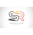 sr creative modern logo design with orange and vector image