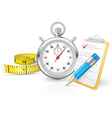 Stopwatch with clipboard and tape measure vector image vector image
