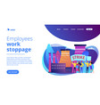 strike action concept landing page vector image vector image