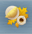tasty buttery croissant and cup of hot coffee on vector image